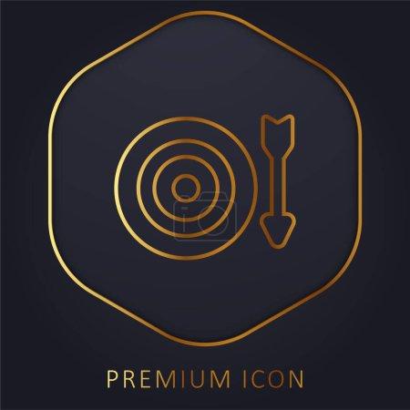 Illustration for Archery golden line premium logo or icon - Royalty Free Image