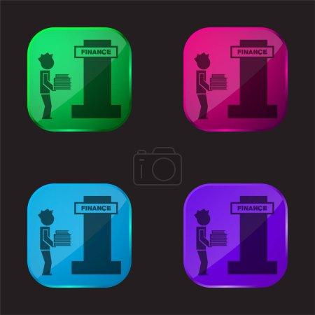 Illustration pour Garçon debout dans une bibliothèque avec des livres Empiler quatre couleur icône bouton en verre - image libre de droit