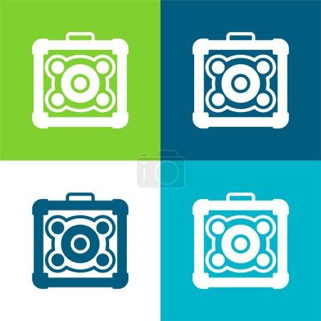 Amplifier Flat four color minimal icon set