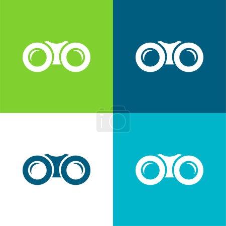 Binoculars Flat four color minimal icon set