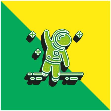 Foto de Astronauta verde y amarillo moderno vector 3d icono del logotipo - Imagen libre de derechos
