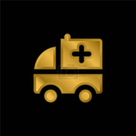 Illustration for Ambulance gold plated metalic icon or logo vector - Royalty Free Image