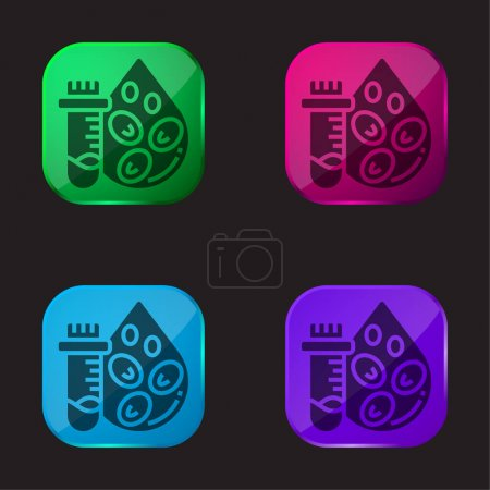 Illustration for Blood Count Test four color glass button icon - Royalty Free Image