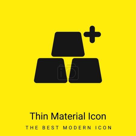 Photo pour Ajouter des objets minime icône matériau jaune vif - image libre de droit