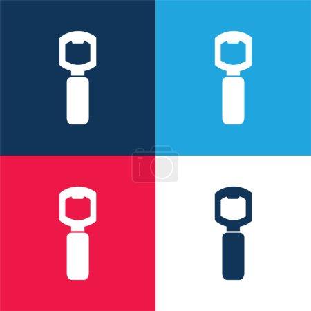 Photo pour Outil d'ouverture de bouteille pour cuisine bleu et rouge ensemble d'icônes minimales de quatre couleurs - image libre de droit