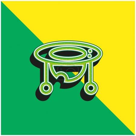 Baby Walker Grünes und gelbes modernes 3D-Vektorsymbol-Logo