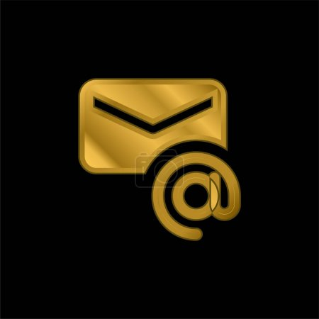 Address gold plated metalic icon or logo vector
