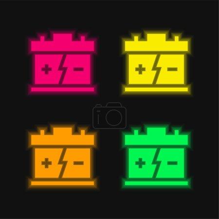 Illustration pour Batterie quatre couleurs brillant icône vectorielle néon - image libre de droit