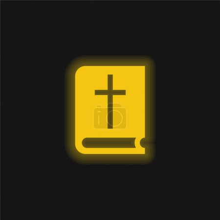 Photo for Bible yellow glowing neon icon - Royalty Free Image