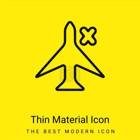 Illustration pour Panneau d'avion avec une croix pour interface téléphonique icône matérielle jaune vif minimale - image libre de droit