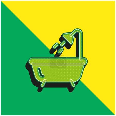 Bath Green and yellow modern 3d vector icon logo