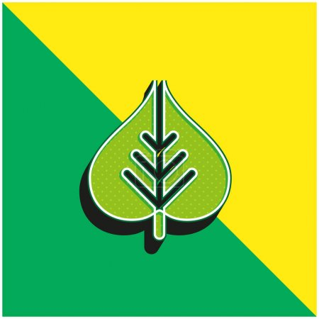 Bodhi Leaf Green and yellow modern 3d vector icon logo