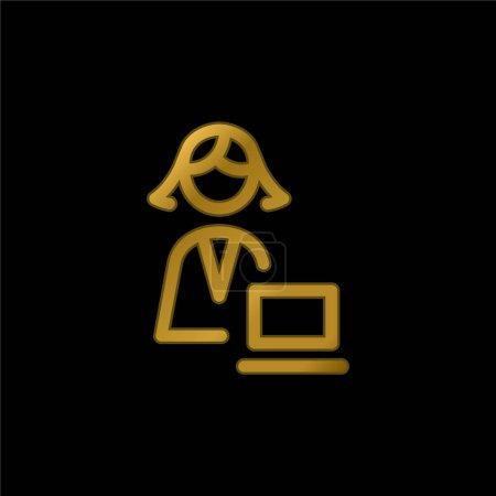 Illustration pour Administrateur icône métallique plaqué or ou vecteur de logo - image libre de droit