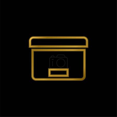 Illustration pour Outil de boîte pour l'icône métallique plaqué or d'organisation de bureau ou le vecteur de logo - image libre de droit