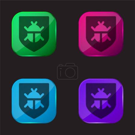 Antivirus four color glass button icon