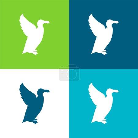 Illustration pour Ensemble d'icônes minime en forme d'oiseau à quatre couleurs plates - image libre de droit