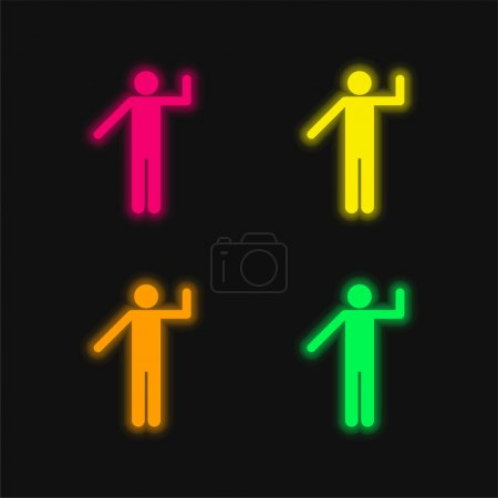 Basic Silhouette four color glowing neon vector icon