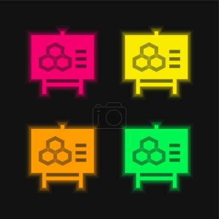 Foto de Biología de cuatro colores brillante icono del vector de neón - Imagen libre de derechos