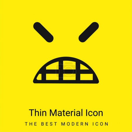 Illustration pour Angry Emoticon visage carré avec yeux fermés minime icône de matériau jaune vif - image libre de droit