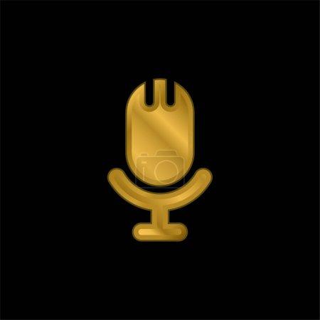 Illustration pour Big Microphone plaqué or icône métallique ou logo vecteur - image libre de droit