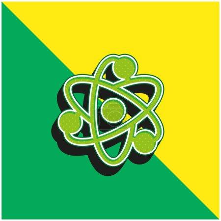 Illustration pour Logo de l'icône vectorielle 3D moderne Atom Green et jaune - image libre de droit