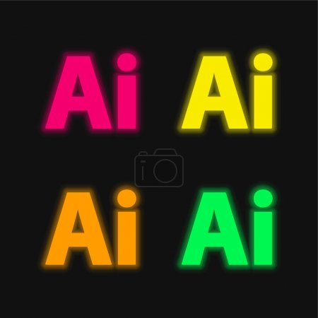 Illustration for Adobe Illustrator four color glowing neon vector icon - Royalty Free Image