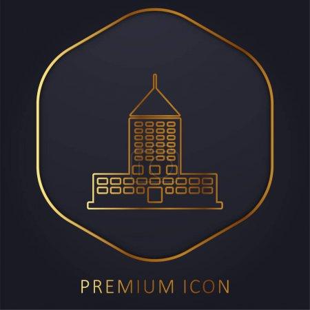 Photo pour Big Building ligne d'or logo premium ou icône - image libre de droit