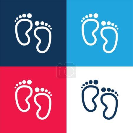 Empreintes bébé bleu et rouge quatre couleurs minimum jeu d'icônes