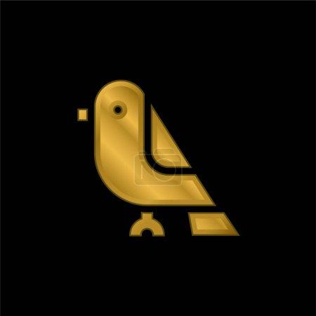 Photo pour Oiseau plaqué or icône métallique ou logo vecteur - image libre de droit