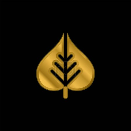 Bodhi Leaf gold plated metalic icon or logo vector
