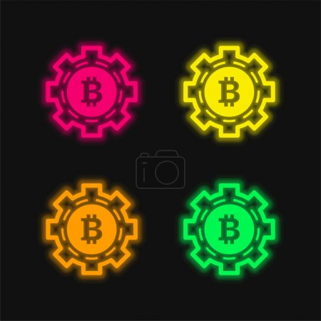 Illustration for Bitcoin Mechanic Symbol four color glowing neon vector icon - Royalty Free Image