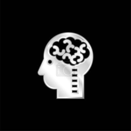 Photo pour Icône métallique argentée Cerveau en tête - image libre de droit