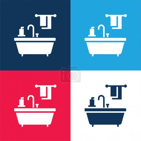 Baignoire bleu et rouge quatre couleurs minimum icône ensemble