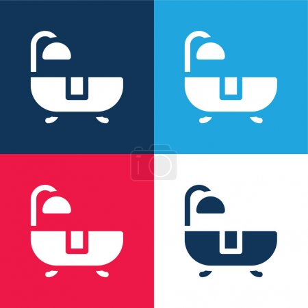 Bath blue and red four color minimal icon set
