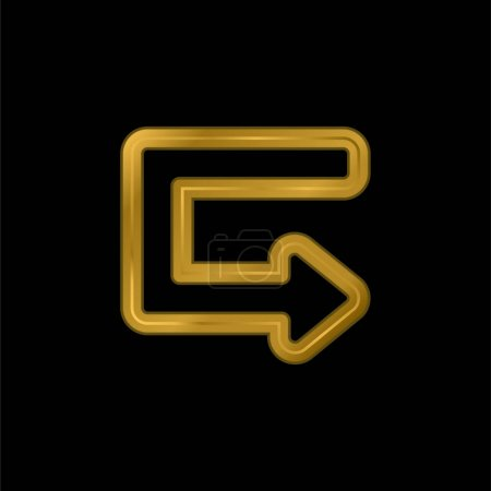 Pfeil Broken Outlined Angle vergoldet metallisches Symbol oder Logo-Vektor