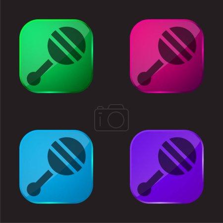Hochet bébé icône bouton en verre quatre couleurs
