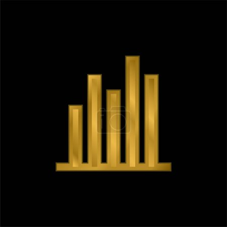 Bar Graph gold plated metalic icon or logo vector