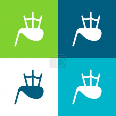 Illustration for Bag Pipe Flat four color minimal icon set - Royalty Free Image
