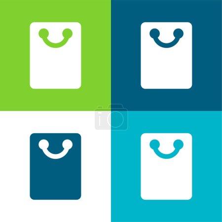 Illustration pour Sac à provisions noir Ensemble d'icônes minimal plat quatre couleurs - image libre de droit