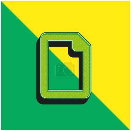 Illustration pour Fichier vierge Logo d'icône vectorielle 3D moderne vert et jaune - image libre de droit