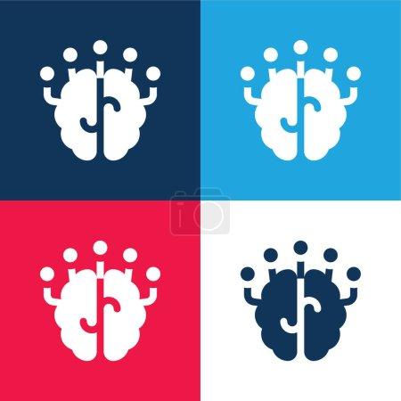 Photo pour Cerveau bleu et rouge quatre couleurs minimum jeu d'icônes - image libre de droit