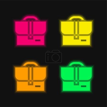Illustration pour Sac quatre couleurs brillant icône vectorielle néon - image libre de droit