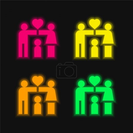 Adoption four color glowing neon vector icon