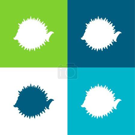 Illustration pour Forme latérale de baudroie Ensemble d'icônes minimal plat de quatre couleurs - image libre de droit