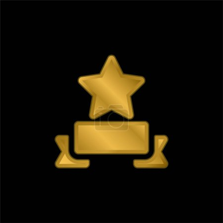 Illustration for Award gold plated metalic icon or logo vector - Royalty Free Image
