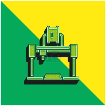 Photo pour Imprimante 3d Logo vectoriel 3d moderne vert et jaune - image libre de droit