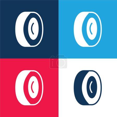 Illustration pour Roue en alliage bleu et rouge quatre couleurs minimum jeu d'icônes - image libre de droit