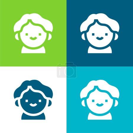 Illustration pour Garçon plat quatre couleurs minimum jeu d'icônes - image libre de droit