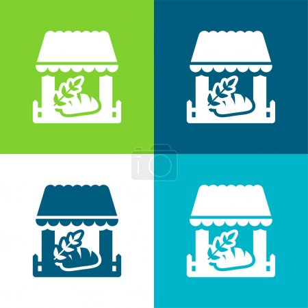 Illustration for Bakery Store Flat four color minimal icon set - Royalty Free Image