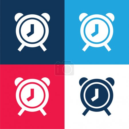 Alarm Clock blue and red four color minimal icon set